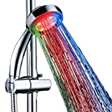 SunJas LED Duschkopf Wellnessbrause Handbrause Brausekopf Bunt Multicolor Mehrfarbig mit Licht...