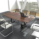 EASY Konferenztisch Bootsform 200x100 cm Nussbaum Besprechungstisch Tisch, Gestellfarbe:Anthrazit