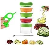 LEUFT® Premium Bundle 3 Klingen Spiralschneider inkl. Reinigungsbürste & Orangenschäler, 3 in 1...