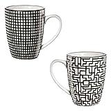 ASA 90904071 MAORI - Henkelbecher - Porzellan - schwarz / weiß - 2 er Set - Ø 8 cm - Höhe 10,5 cm...