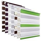 OUBO Doppelrollo Klemmfix ohne Bohren 90 x 150 cm (BxH) Grün-Grau-Weiß Fenster Duo Rollo mit...