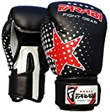 Farabi Kinder Boxhandschuhe, MMA, Muay Thai Junior Boxsack Handschuhe schwarz 6oz