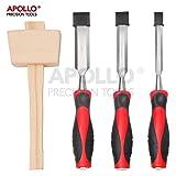 Apollo Stechbeitel-Set bestehend aus 4 Holzmeißeln mit gehärtetem Stahlblatt & Hammer für...