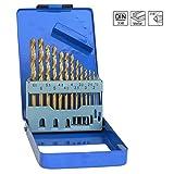 S & R Metallbohrer, HSS Titan 1,5–6,5mm, Winkel 135°, Set 13-teilig, DIN 338,...