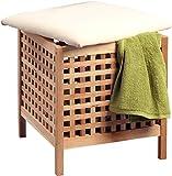 HomeTrends4You Wäschehocker, Holz, Walnuss massiv geölt, 47 x 54 x 47 cm