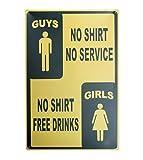 Lumanuby 1x Plakat für die Bar 'Guys, No Shirt No Service' Deko Wandschild Metall Zum Billard-Haus...
