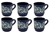 6er Set Van Well Glühweinbecher blau mit Motiv und Eichstrich bei 0,2L