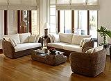 RATTAN Wasserhyazinthe Lounge Set Sevilla 23 Teilig COUCHGARNITUR WOHNLANDSCHAFT SITZGARNITUR FARBE...