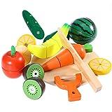ROSENICE Spiel-Lebensmittel Küchenspielzeug Set Holztablett mit Holzobst Gemüse Schneideset by...