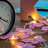 2er Set – Schöne, moderne und rosa batteriebetriebene LED Lichterketten mit Schmetterlingen aus...