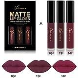 BOBORA 3 Stück Matte Lip Gloss Wasserdichte Lippenstift Langlebige Lippenstift Für Lippen Kosmetik...