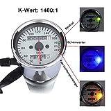 Universal Motorrad Drehzahlmesser Dual Tachometer 12V Wegmesser mit LED Hintergrundbeleuchtung...