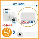 40 Stk. Premium Thermorollen 80mm x 80mm x 12mm – Thermopapier Bonrollen (80 80 12) - zertifiziert...