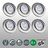 LED Einbaustrahler Dimmbar Schwenkbar Inkl. 6 x 5W 230V GU10 IP23 Leuchtmittel LED Spot...
