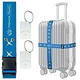 D&B Travel Gepäckgurt SET: 4x Koffergurt + 2x Gepäckanhänger - reflektierend, reissfest, S-XXL...