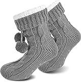 Damen Warme Dicke Wintersocken mit Innenfell Teddyfutter und Antirutschsohle Farbe Grau Größe...