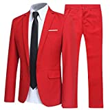 Allthemen Herren 2-Teilig Slim FIT Business Anzug Rot Large