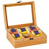 Kesper 50902 Tee-Box aus Bambus, Maße - 21.7 x 16 x 9 cm