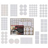 ToniTec Filzgleiter für Stühle Selbstklebend, PREMIUM Set mit 12 verschiedenen Größen, Rund und...