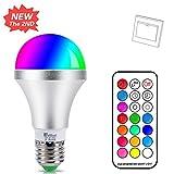 LED E27 Farbige Leuchtmittel 10W RGBW LED Bulb Dimmbare Farbwechsel Birne mit Fernbedienung, bunt 12...