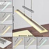 Dimmbare LED Pendelleuchte Junsele aus Metall Nickel - Längliche höhenverstellbare Zimmerlampe...