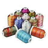 Simthreads 12 Multi Farben Polyester Stickgarn - 1,000 Meters, für...