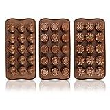 COM-FOUR® 3x Silikon Formen für Pralinen, Pralinenformen für jeweils 15 Pralinen oder Eiswürfel...