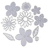 10 Stück Stanzschablonen Metall Stanzformen Blumen Silber Schneiden Schablonen für DIY cutting...