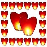 20 x rotes Herz umweltfreundliche Himmelslaternen für Weihnachten, Neujahr, Chinesisches Neujahr,...