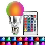 LED RGBW Lampe mit Fernbedienung XJLED 5W E27 Dimmbar Farbige Leuchtmittel Glühbirne mit RGB und...