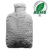 Wärmflasche,Bigmeda Hot Water Bottle Grau Wärmflasche mit Bezug Microfaserbezug Sicher und Warm...