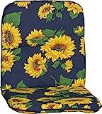 Gartenstuhlauflage Gartenstuhlkissen Sitzkissen Polster für Niedriglehner Sonnenblumen blau