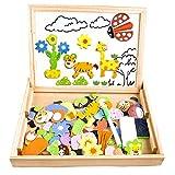 Fast 100 Stück Wald und Tier Magnetisches Holzpuzzles, Puzzle aus Holz , Doppelseitige Puzzle Tafel...