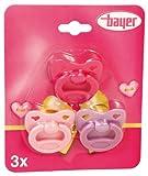 Bayer Design 79104AA Schnuller-Set 3-farbig für Puppen, Rosa/Lila