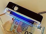 2 Stück im Set Mobiler Geldscheinprüfer UV MINI Plus mit 4 Watt starker UV Lampe und...