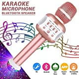 Bluetooth Karaoke Mikrofon mit Disco-Lichtern, Mikrofon Kabellos für die Aufnahme von Gesang und...