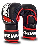 ONE MAN ARMY MMA Sparring Box-Handschuhe, Grappling Mixed Martial Arts, schwarz-rot, PU