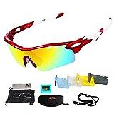 Unisex Radbrille Sportbrille Sonnenbrille, UV-Schutz, 3 Wechselgläser inkl. Schwarze polarisierte...