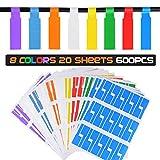 20 Blatt / 600 Stk / 8 Farben Kabel Etiketten Selbstklebend Aufkleber Kabelkennzeichnung Label...