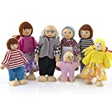 7 Personen Familie Puppen - Biegepuppen aus Holz & Stoff - Minipuppen für 1:12 Miniatur Puppenhaus...