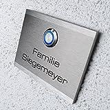 Metzler-Trade Türklingel mit Gravur. Mit LED beleuchtetem Klingeltaster (verschiedene Farben...