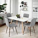 coavas Dining Chairs Set aus 4 Stoff Küchenstühlen mit stabilen Metallbeinen für Esszimmer, Grau