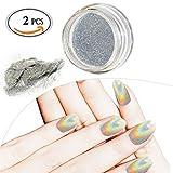 2 PCS Nagel Pigment Mirror Powder/ Nail powder, Shinning magisches Spiegel-Laser-Nagel-Puder...