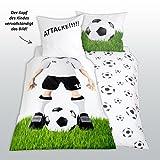 Herding Bettwäsche Fußball Kissenbezug 80 x 80 cm und Bettbezug 135 x 200 cm, 100 % Baumwolle