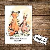 ilka parey wandtattoo-welt A6 Postkarte Karte Print Fuchs und Hase mit Spruch Liebe muss nicht...
