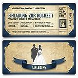 Einladungskarten zur Hochzeit (20 Stück) als Eintrittskarte im Vintage Ticket Look Hochzeitskarten...