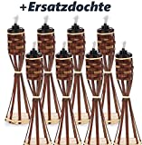 8 Stück Tisch Bambusfackel Braun Gartenfackel mit 8 Stück eingesetzter Dochte inklusive Gratis...