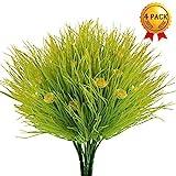 Nahuaa Künstliche Pflanzen, 4 Stück Künstlich Blumen Blumenstrauss Faux Sträucher Plastik Weizen...