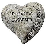 COM-FOUR® Deko Herz 'In stillem Gedenken', in Steinoptik, als Grabschmuck, ca. 15 x 15 x 6 cm