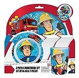p:os 25335 Frühstücksset Feuerwehrmann Sam 3 teilig, Teller, Schüssel und Becher